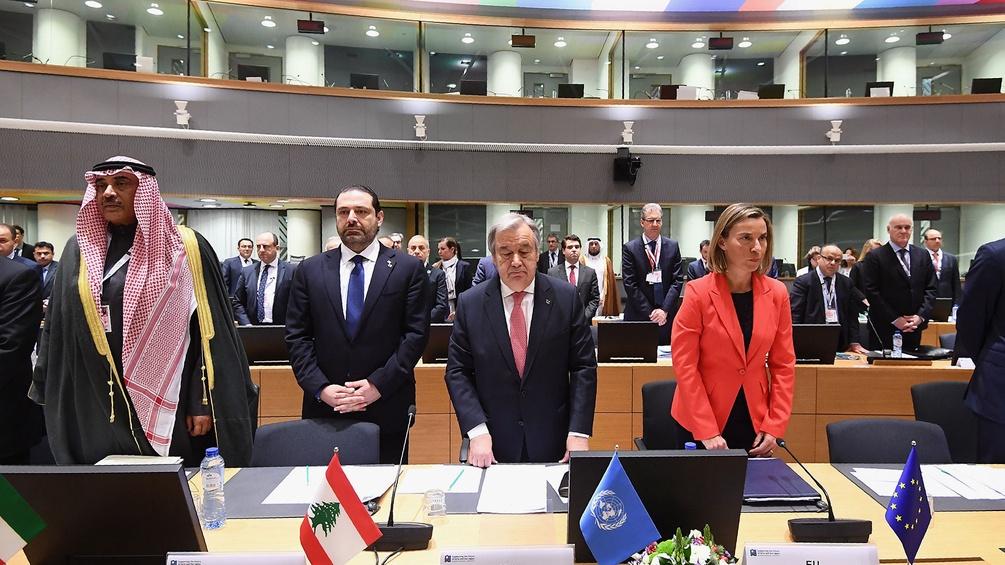Sabah Al Khalid Al Sabah, Saad Hariri, Antonio Guterres und Borge Brende