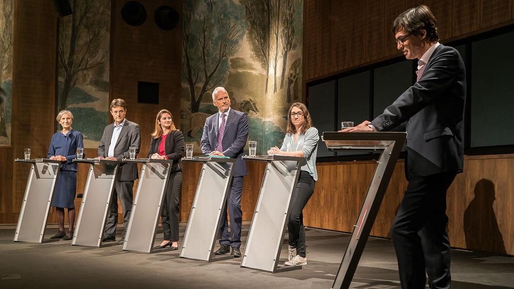 Irmgard Griss, Georg Bürstmayr, Marlene Svazek, Josef Moser, Julia Herr und Klaus Webhofer