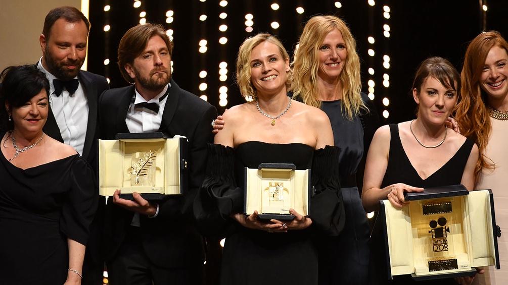 Lynne Ramsay, Yorgos Lanthimos, Ruben Östlund, Diane Kruger, Sandrine Kiberlaine, Leonor Serraille und Latiti Dosch.