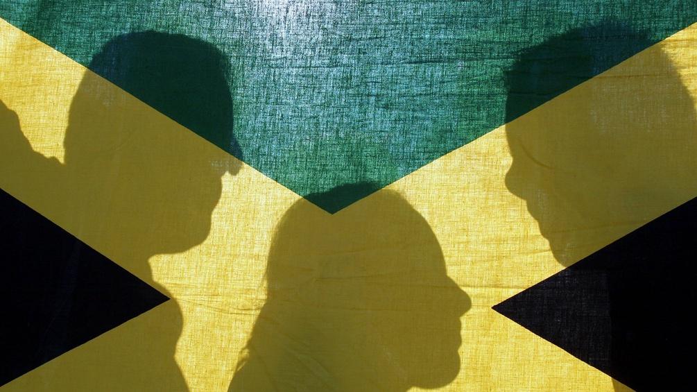 Illustration der Jamaika-Koalition, Fahne mit Schatten