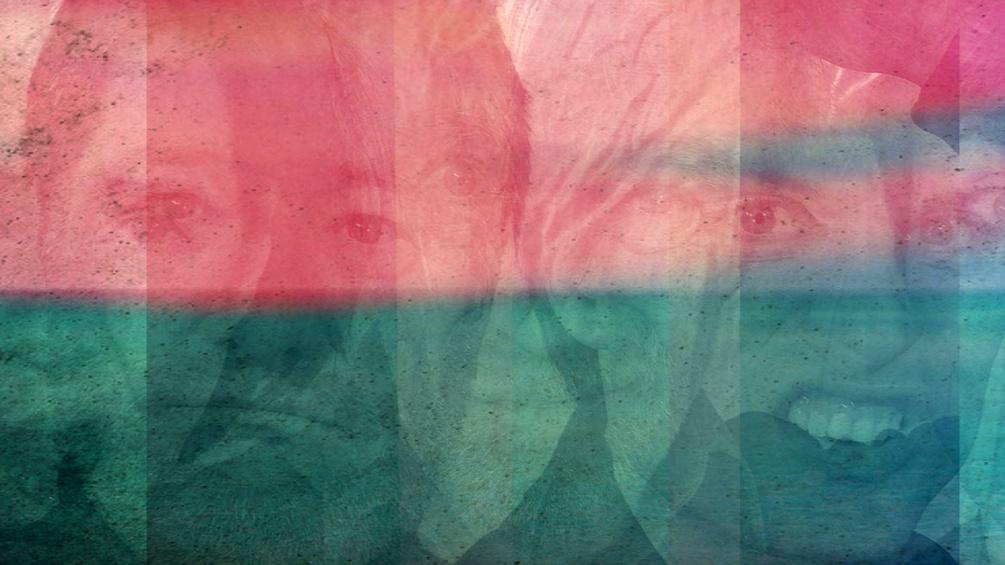Gesichter hinter Farbbalken