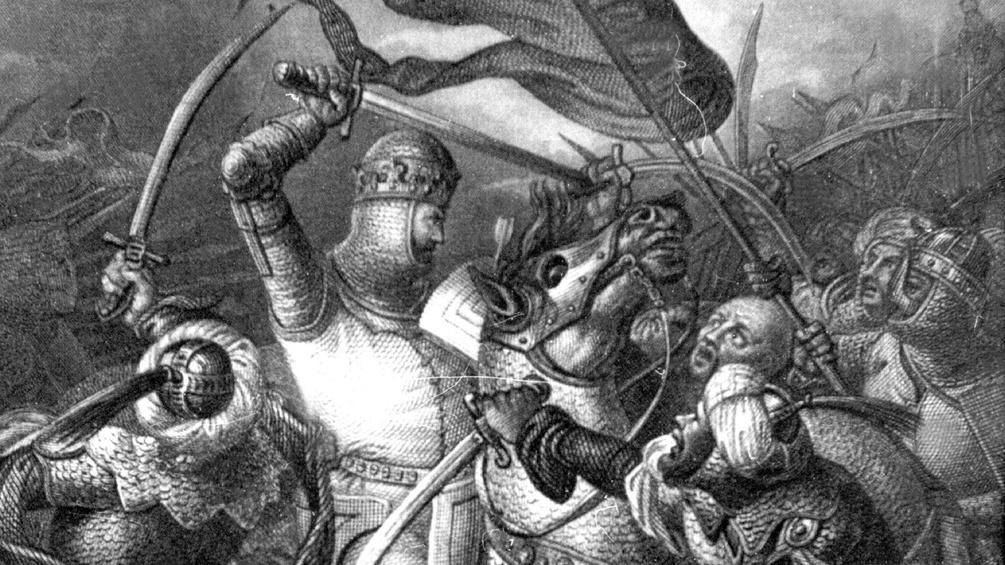 """Die zeitgenössische Darstellung zeigt König Richard I. von England, genannt """"Löwenherz"""", während des 3. Kreuzzuges."""
