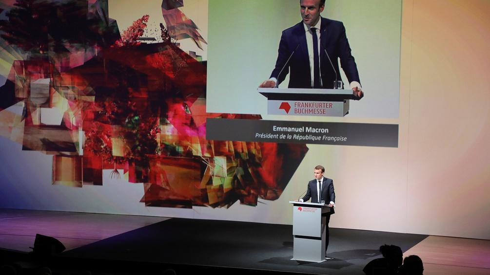 Emmanuel Macron bei der Eröffnung der Frankfurter Buchmesse