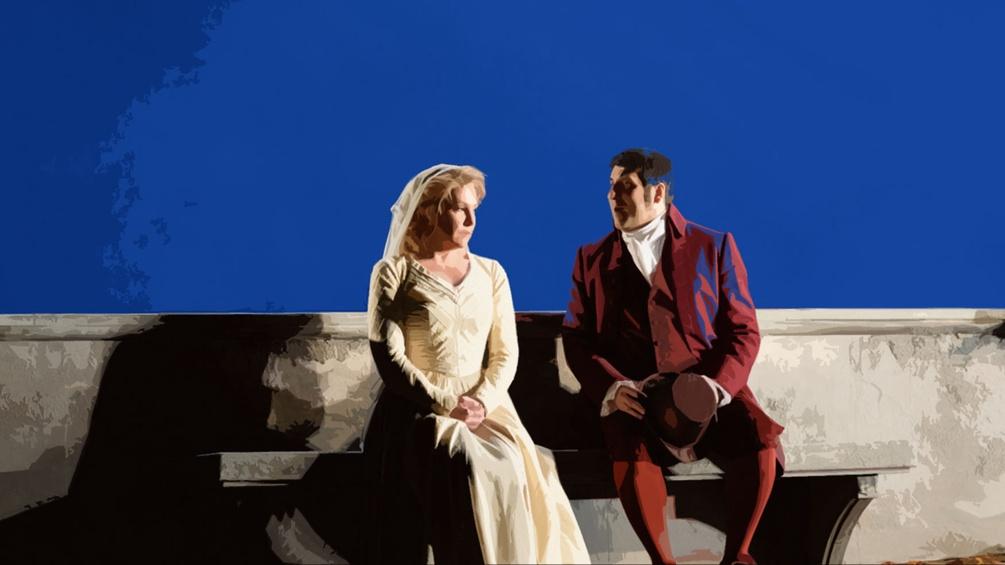 Szenenfoto Mann und Frau auf einer Bank