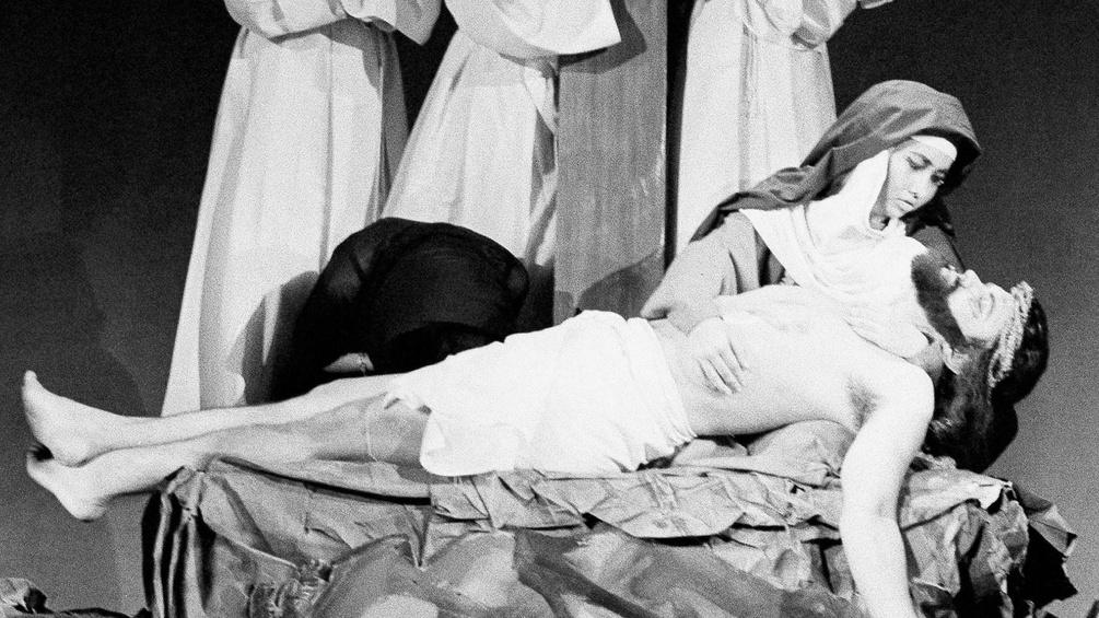 Passionsspiel, Szenenausschnitt mit Jesus und Maria Magdalena