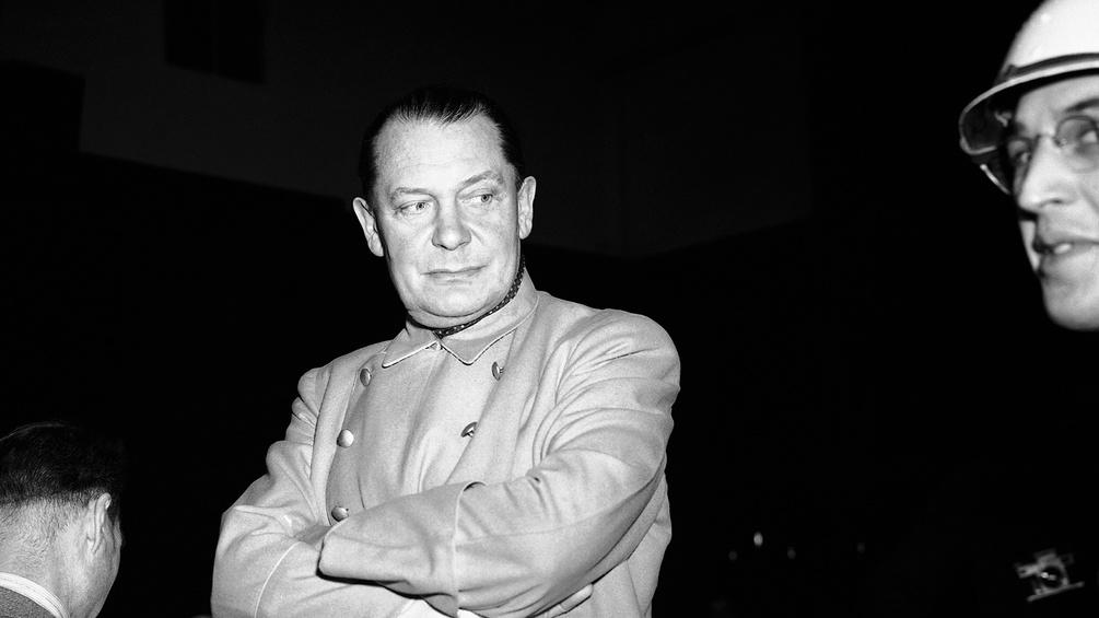Archivfoto von Hermann Göring beim Nürnberger Prozess