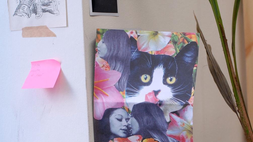 Katzenbild, Post-It und Pflanzenhalm