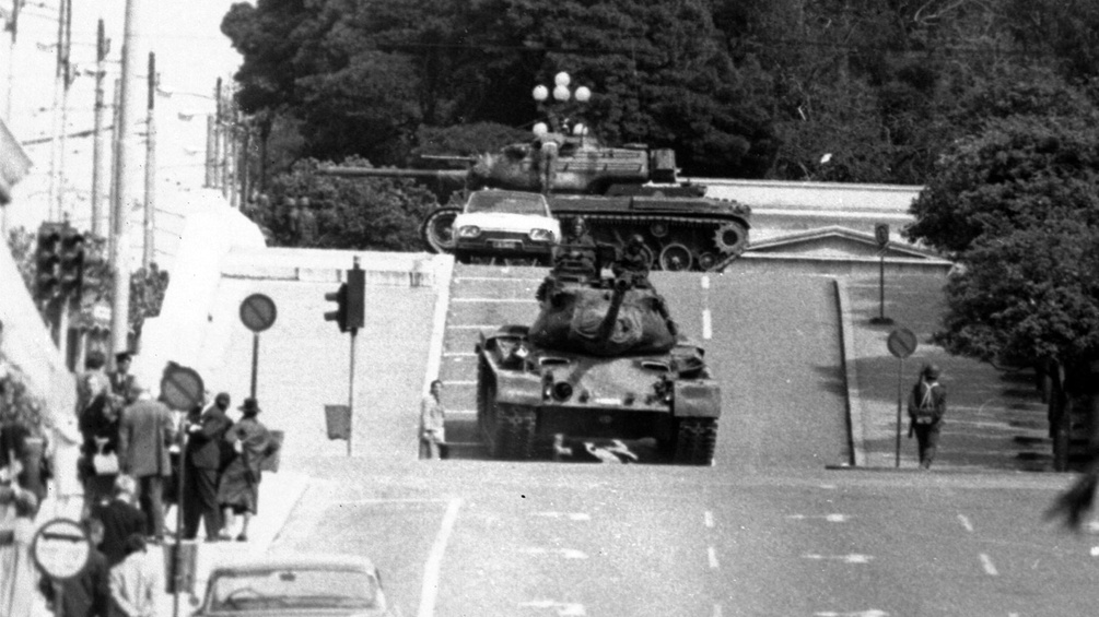 Panzer in den Straßen Athens, 21. April 1967
