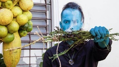 Performance, Mann in Blau, Zitrusfrüchte im Netz