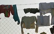 Wäsche auf einem Zaun