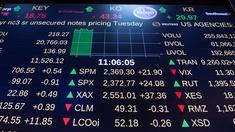 Eine Anzeigetafel mit Aktienkursen