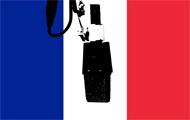 Französische Nationalfarben und Mikrofon
