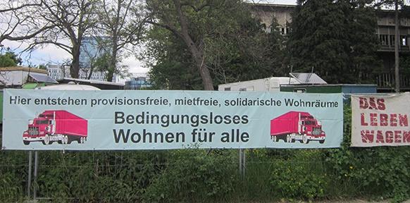 Banner zum Bedingungslosem Wohnen in der Krieau