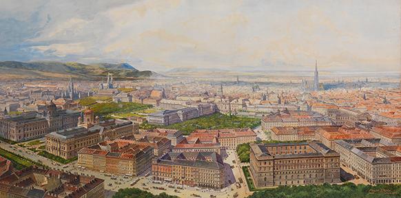 Wien aus der Vogelschau vom Getreidemarkt, 1904