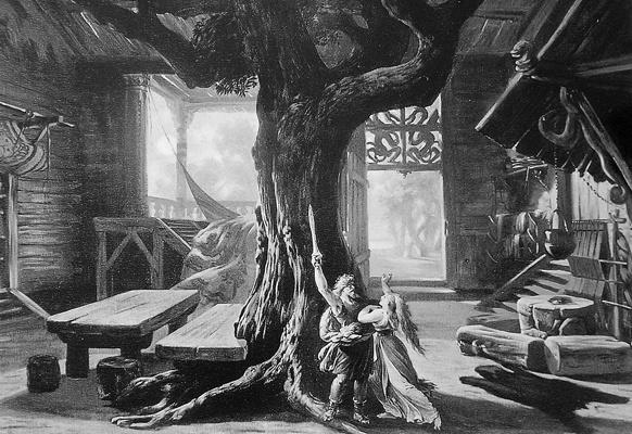 """Bühnenbildentwurf für """"Die Walküre"""" von Josef Hoffmann, 1876"""