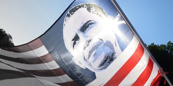 US-Flage mit Obama-Porträt