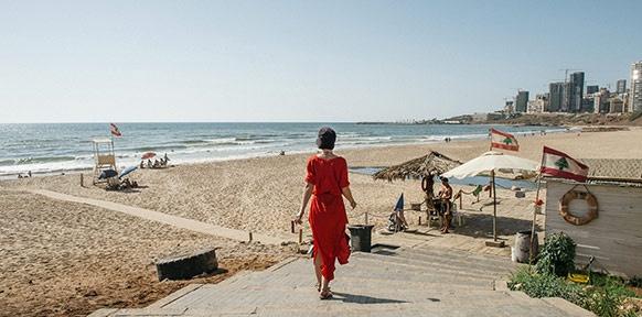 Der öffentliche Strand Ramlet el Bayda in Beirut