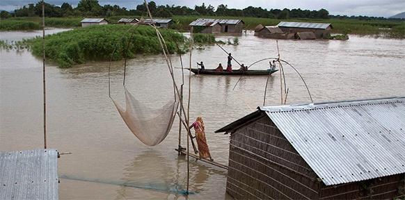Fischer und Bauern in Assam