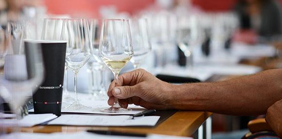 Weißwein im Glas, viele Weingläser, Arm und Hand
