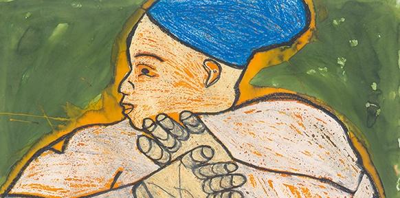 Frau mit verschränkten Händen, Zeichnung