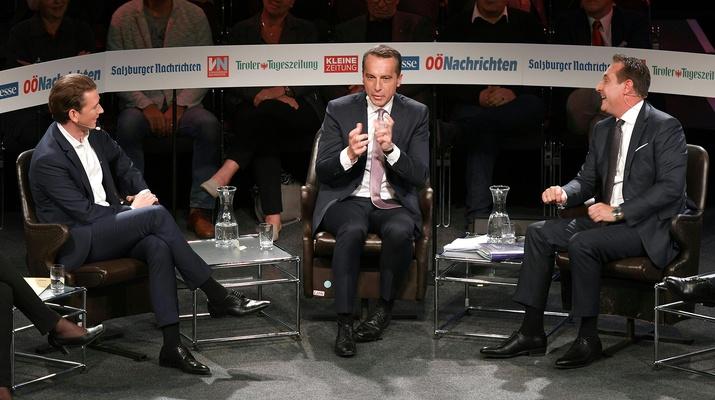 ÖVP-Chef Sebastian Kurz, Bundeskanzler und SPÖ-Chef Christian Kern und FPÖ-Chef Heinz-Christian Strache
