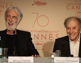 Michael Haneke und Jean-Louis Trintignant