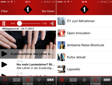 Screenshots der Ö1 App